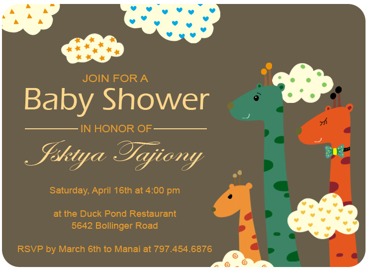 Clound And Giraffes Baby Shower Invitations HPBS242
