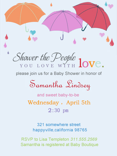 Three Umbrella Baby Shower Invitations HPBS245