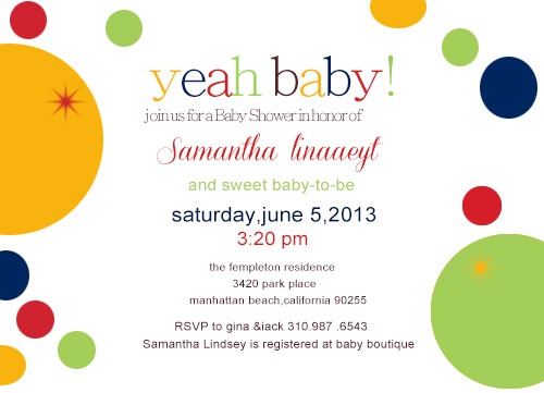 Sweet Circle Baby To Be Shower Invitation Card HPBS251