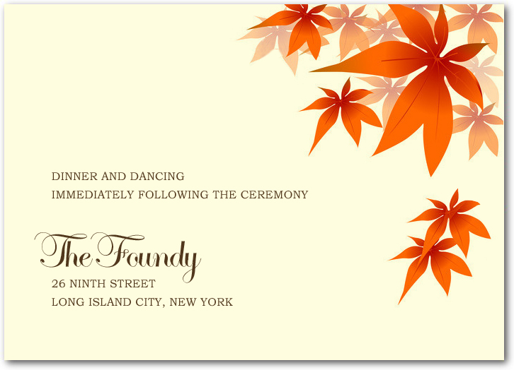 Red Maple Leaves Reception Cards HPC040