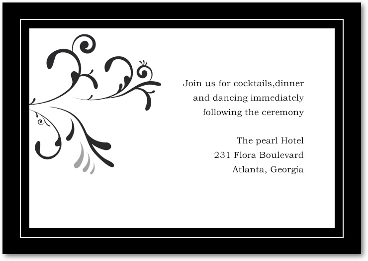Flourish And Neutral Scroll Wedding Reception Cards HPC042