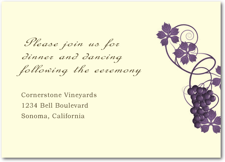 Purple Twirling Vineyard Wedding Reception Cards HPC044