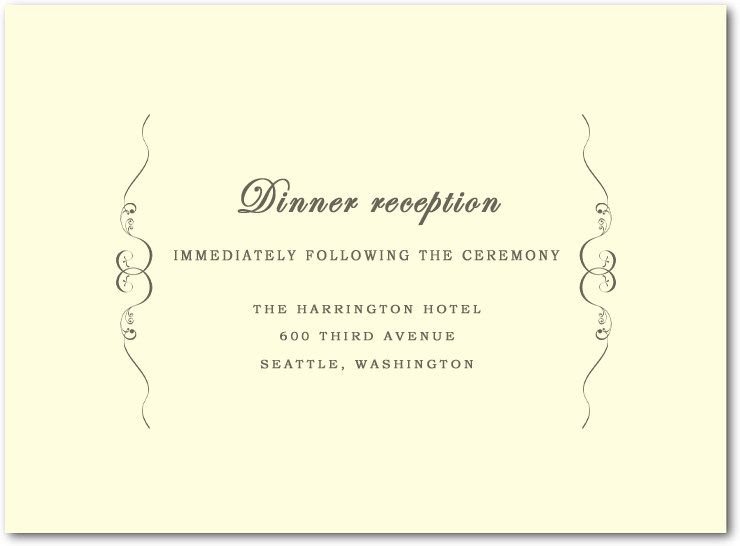Windswept Simple symmetrical Wedding Reception Cards HPC048