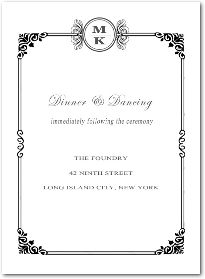 Sophisticated Art Deco Reception Cards HPC089
