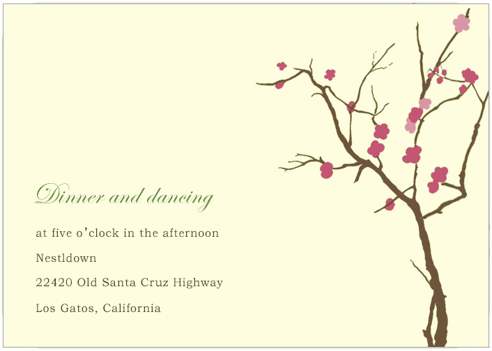 Watercolor Cherry Flowes Tree Reception Cards HPC186