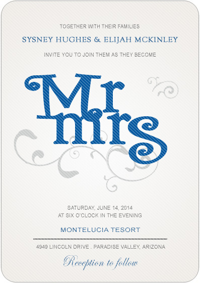 Mr And Mrs artistic Wedding Invitations HPI001