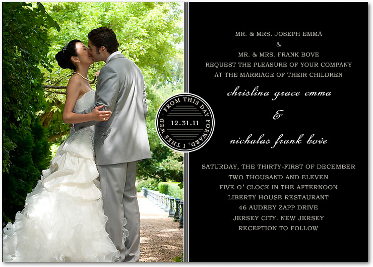 Two Colors Circle Photo Wedding Cards HPI005
