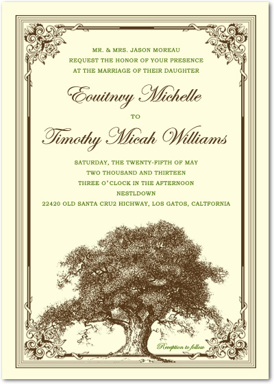 Old Towering Trees Liana Frame Wedding Invitations HPI010