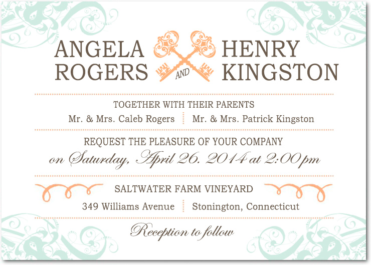 Wedding Invitation Lines: Line Scroll And Key Wedding Invitations HPI016 [HPI016]