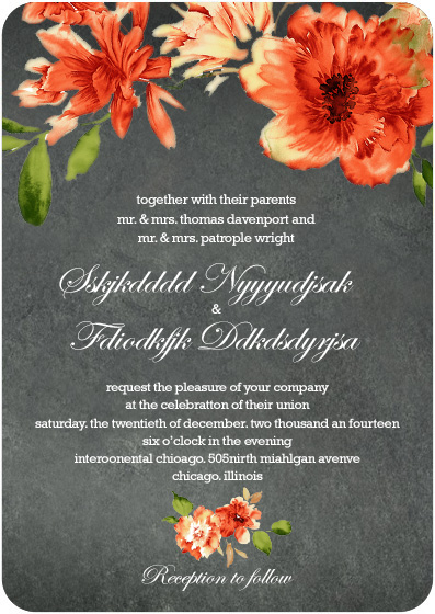 Orange African Daisy Wedding Invitation cards HPI022