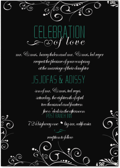 Black And White Celebration Wedding Invitation Cards HPI024