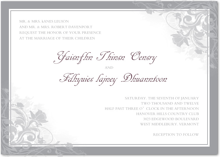 Chic Smoke Flower Wedding Invitation Card HPI027