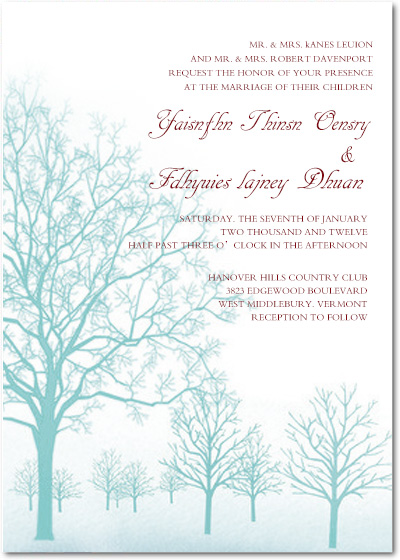 Autumn Peppermint Trees Wedding Invitation Cards HPI032