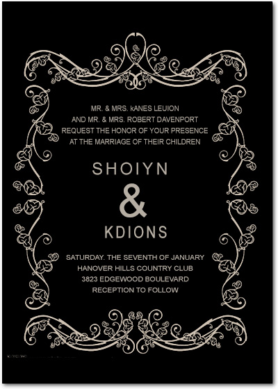 White Frame Deco Wedding Invitation HPI033