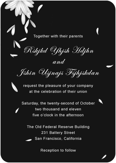 Swans Feather Scattered Wedding Invitation Cards HPI034
