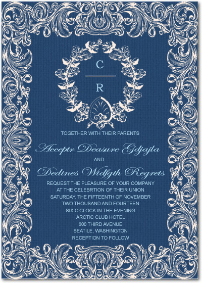 Ethnic Print Linen Wedding Invitation Cards HPI035
