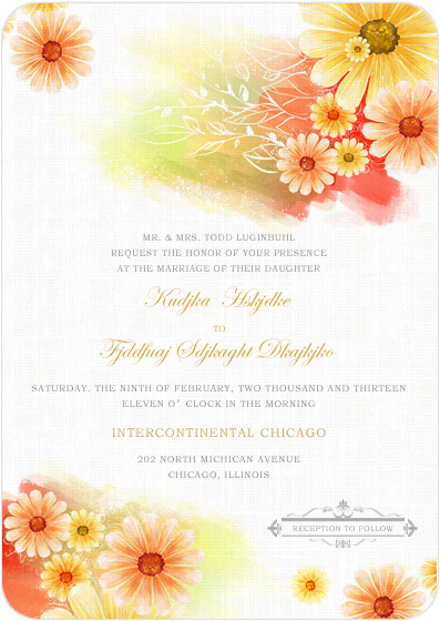 Summer Sunflower Bright Wedding Invitations Card HPI039