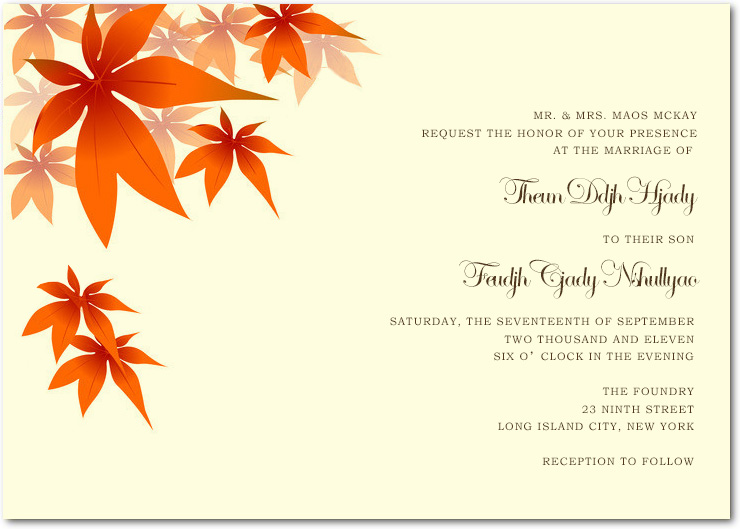 Red Maple Leaves Wedding Invitations Cards HPI040