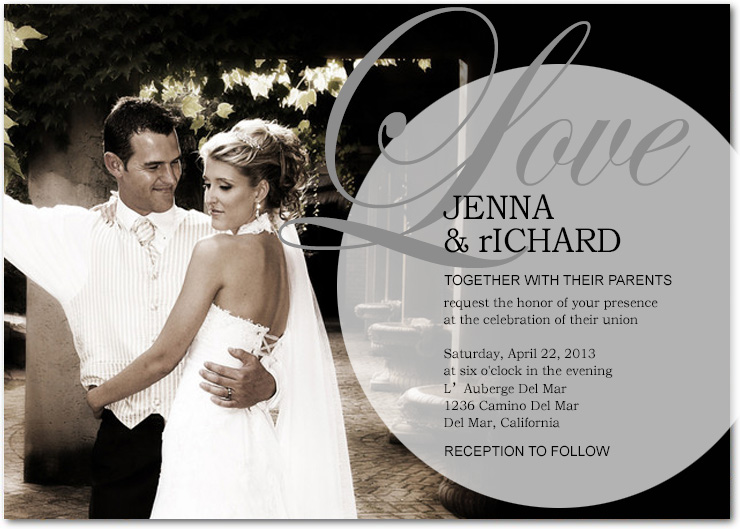Love Title Theme Wedding Photo Invitations HPI041