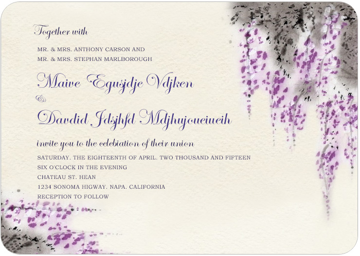 Fragrant Purplish Flowers Wedding Invitations HPI043