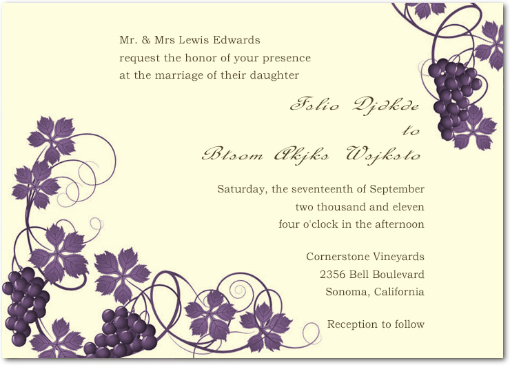 Purple Twirling Vineyard Wedding Invitations Card HPI044 HPI044