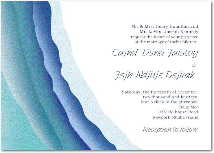 Blue Waves Shades Wedding Invitations CardS HPI045