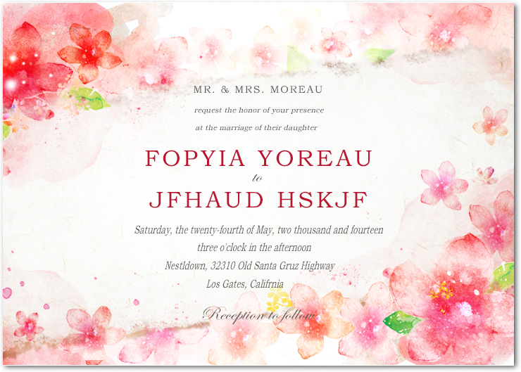 Lively Watercolour Floral Wedding Celebration Invitations HPI050