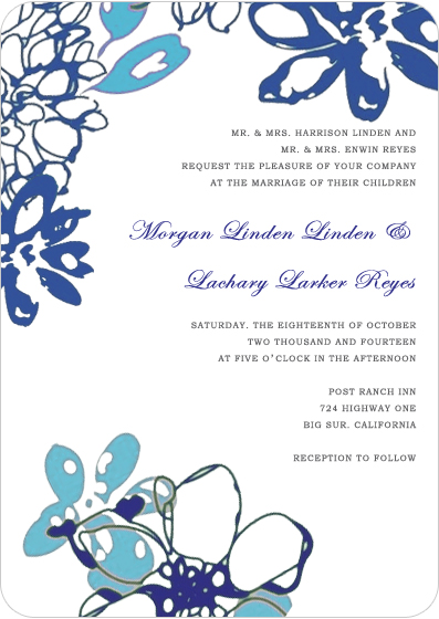 Large Blue Petals Watercolor Wedding Invitations HPI052