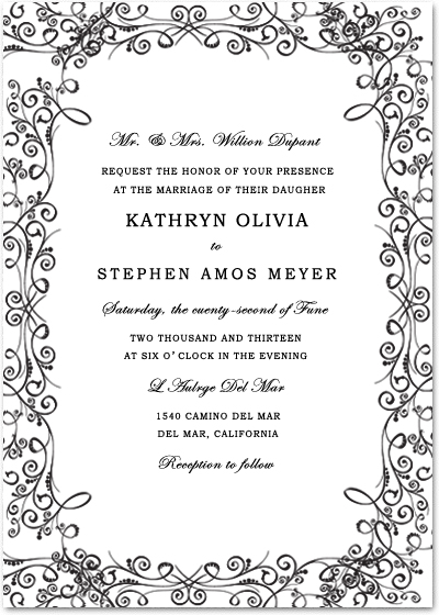 Classic Black And White Frame Wedding Cards HPI053