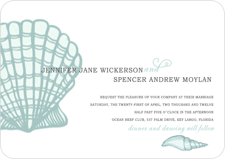 Shell Conch Light Blue Wedding Invitations HPI057