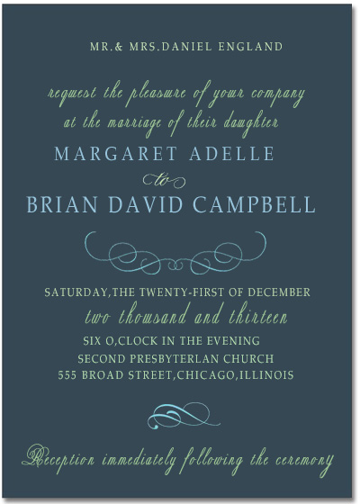 Beautiful Curve Typography Wedding Invitation Card HPI064