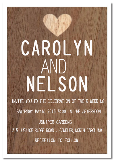 Wood Texture Heart Wedding Invitation Card HPI068