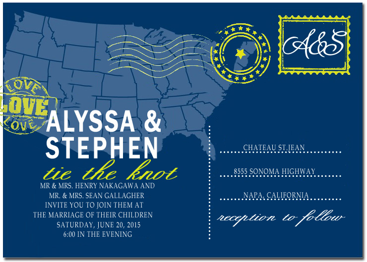 Post American Map Wedding Invitation Card HPI069