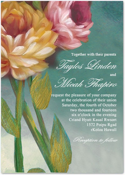 Beautiful Oil Painting Flower Wedding Party Invitations HPI081