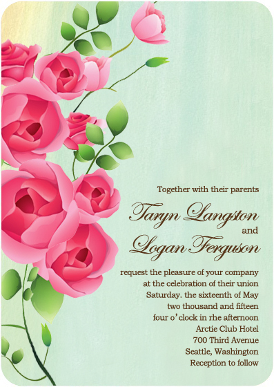 Colorful Sweet Rose Blooms Wedding Invitations HPI082