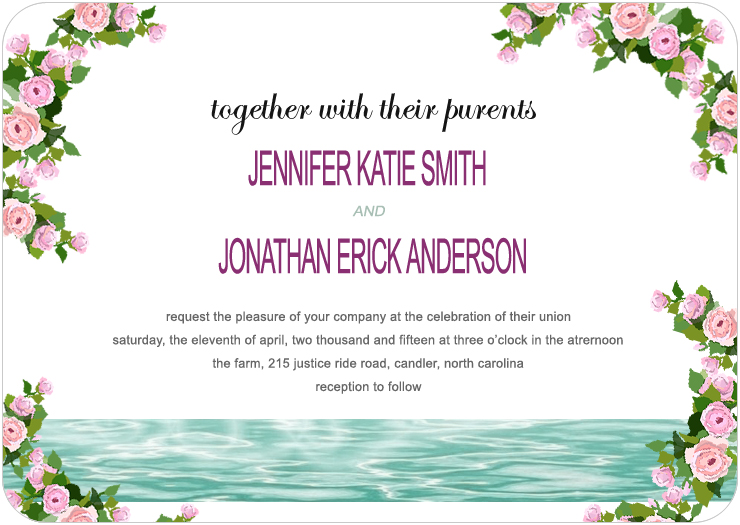 Clear And Fresh Lake Flower Deco Wedding Invites HPI084