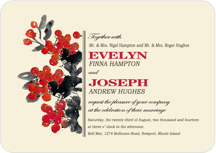 Black And Red Berries Ink Draw Wedding Invites Card HPI085