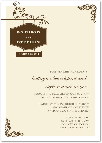 Charming And Simple Outside Wedding Invites Card HPI086
