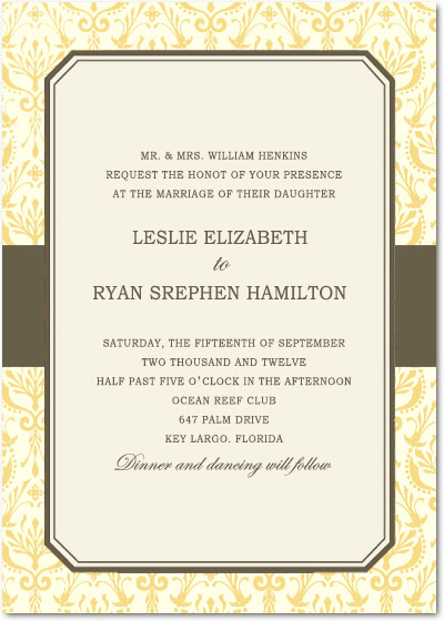 Formal Beautiful pattern Wedding Invites Card HPI087