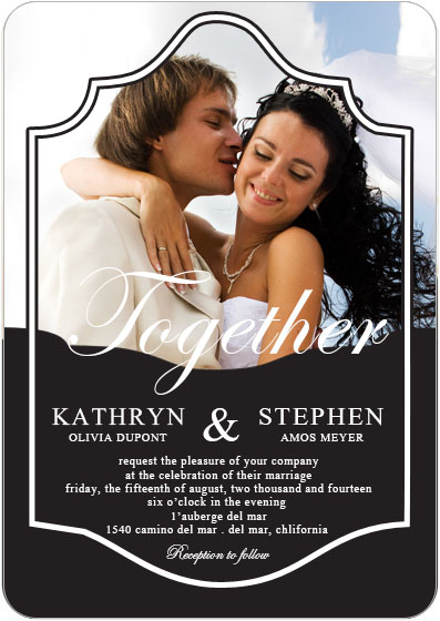 Different Unique Together Photo Wedding Invitations HPI090