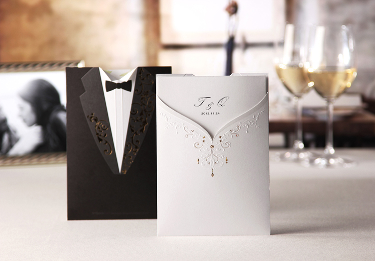 Gown And Tux Wedding Couple Invitation Card HPI259