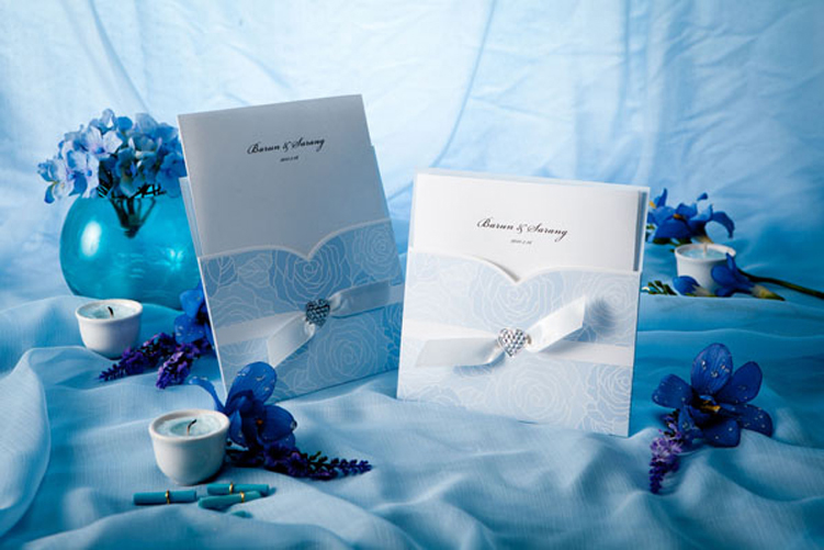 Blue Beach Themed Wedding Pocket Invitation Card HPI260
