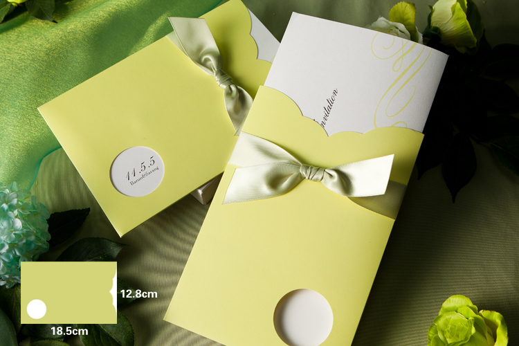 Eco Green Bowknot Wedding Pocket Invitations HPI261