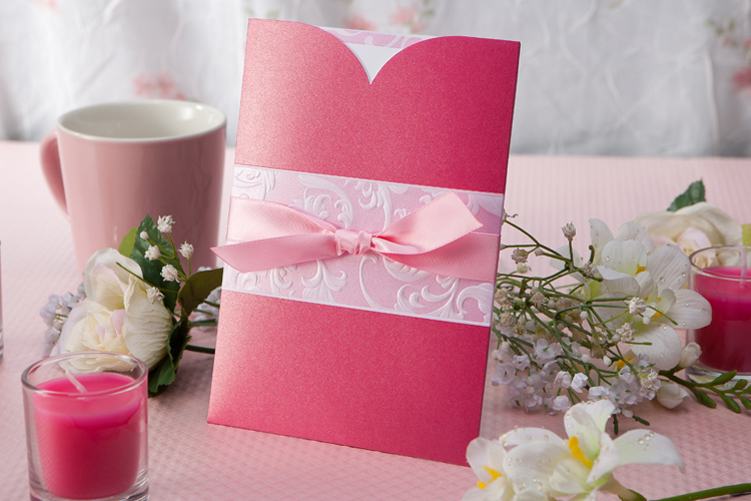 Pink Insert Wedding Pocket Invitations HPI263