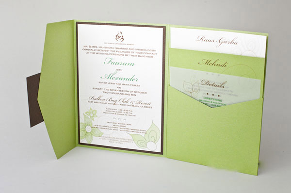 Natural Green Color Tri-fold Pocket Invitations HPI268