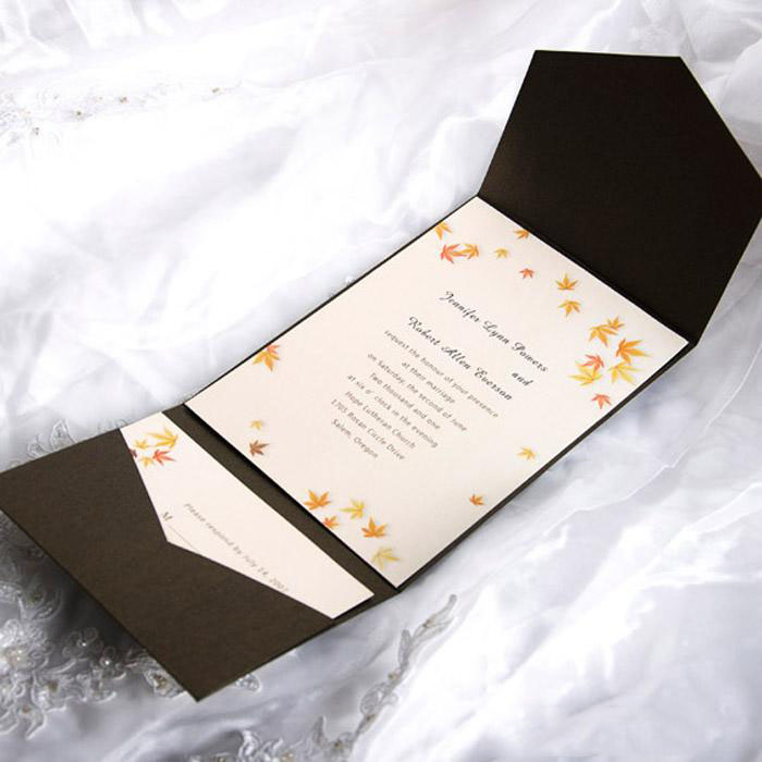 Peach Blossomes Pocket Invitation Cards HPI272