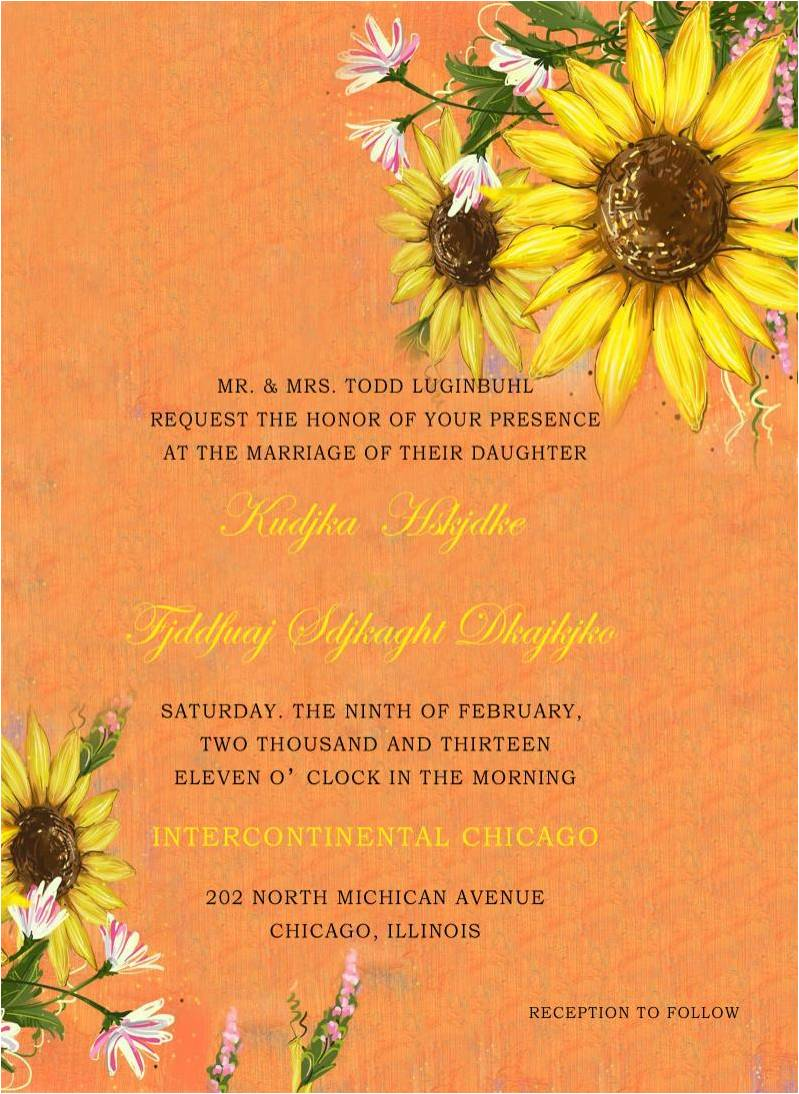 Orange Sunflowers Wedding Invitations for Fall Wedding HPI277