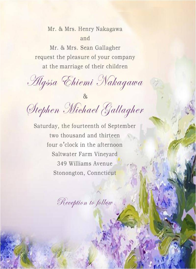 Romantic Watercolor Lavender Fall Wedding Invitation Card HPI278