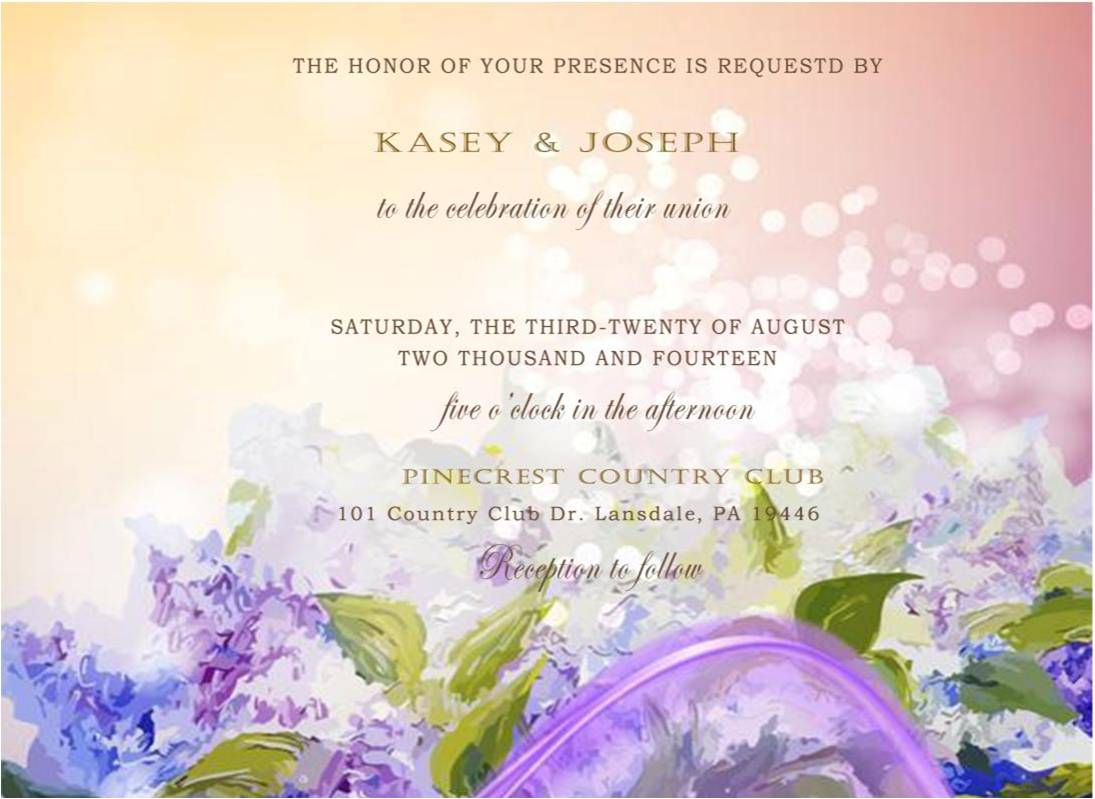 Gradient Purple Watercolor Fall Wedding Invitations HPI279