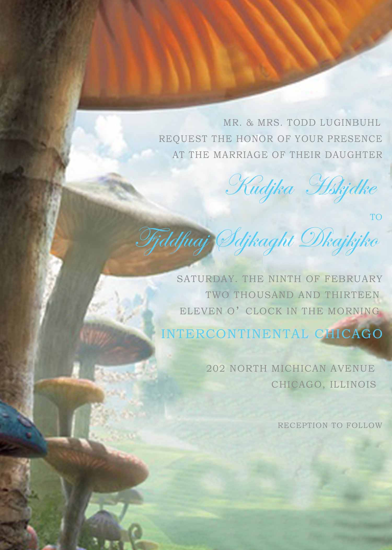 Alice in Wonderland Agaric Wedding Invitations HPI282